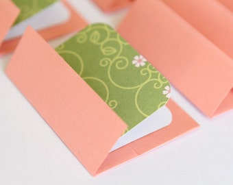 SALE NEW Mini Cards n Envelopes - Set of 8 - Green with Pink Flowers and Salmon Paper