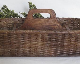 Paper Plate-Silverware Basket / Divided Carrier Basket / Organizer Basket / Handwoven Basket