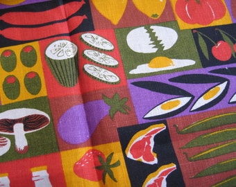 Foodie. Vtg Ulster linen kitchen towel, never used, excellent condition, with original tag.
