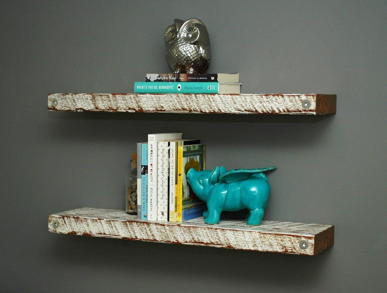 Floating Reclaimed Wood Shelves