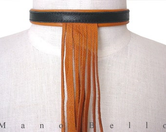 Leather Fringe Necklace Choker Tan Black or Brown, in stock