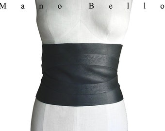 WIDE CORSET BELT Black Leather Underbust Black Leather Obi Wide Leather Belt, Black Underbust Boho Corset Belt 26 - 36 waists Small custom