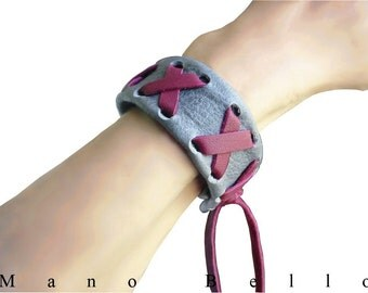 Leather Friendship Bracelet , Gray & Oxblood Red Laced Leather Cuff with Fringe X Bracelet