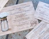 Rustic Mason Jar Wedding Invitation set. Mason Jar and Flowers Wedding Invitation set