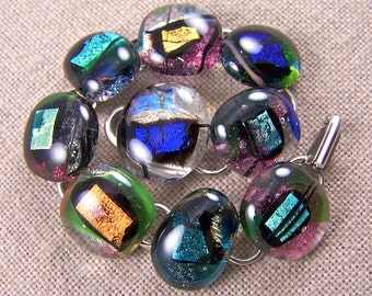 """Dichroic Link Bracelet - Abstract Random Shapes in Clear Pebbles of Fused Glass - Silver Teal Green Blue Gold 3/4"""""""