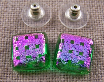 "Dichroic Earrings Green Stained Glass with Pink Transparent Weave Pattern Post or Clip-on - 1/2"" / 12mm"