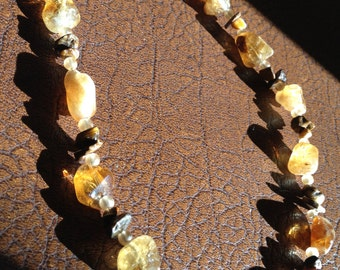 Citrine and tigers eye beaded necklace