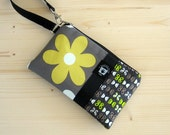 Cute iPhone 5 Case Floral, iPhone Bag, Samsung Phone Case, Zippered Gadget Pouch, Cosmetic Bag, Gray and Chartreuse Daisy