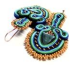 golden peacock -  soutache earrings  free shipping