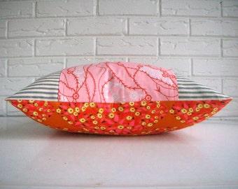 Orange Boho Chic Throw Pillow - Orange Pink Yellow Floral Accent Pillow - Girls Room Decor Nursery