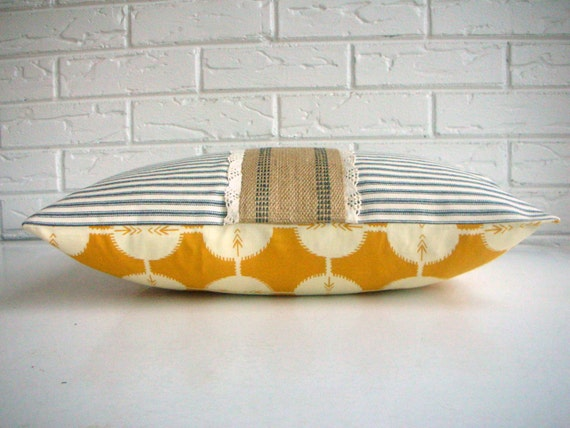Mustard Boho Pillow Cover - Ticking and Lace Accent Pillow - Feminine Throw Pillow