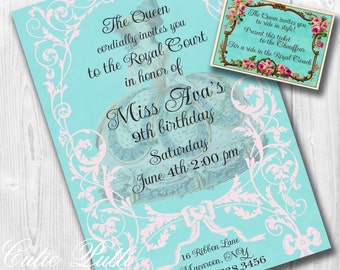 Marie Antoinette Party Invitations, Printable Custom Invitations by Cutie Putti Paperie