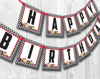 Race Car Party, Vintage Race Car Party - PRINTABLE BIRTHDAY BANNER - Cutie Putti Paperie