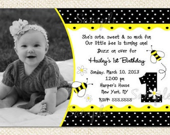Bumble Bee Birthday Invitations