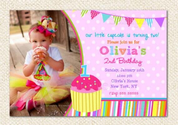 Cupcake1st Birthday Invitations