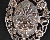 Vintage Large Mexico DF Pin Pendant Applied Flower Basket. Birds and Abalone Shell