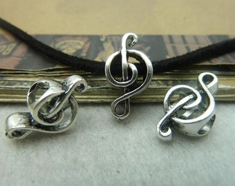 15pcs 8x18mm Antique Silver  Pendant Music Note Spacers Beads C5985