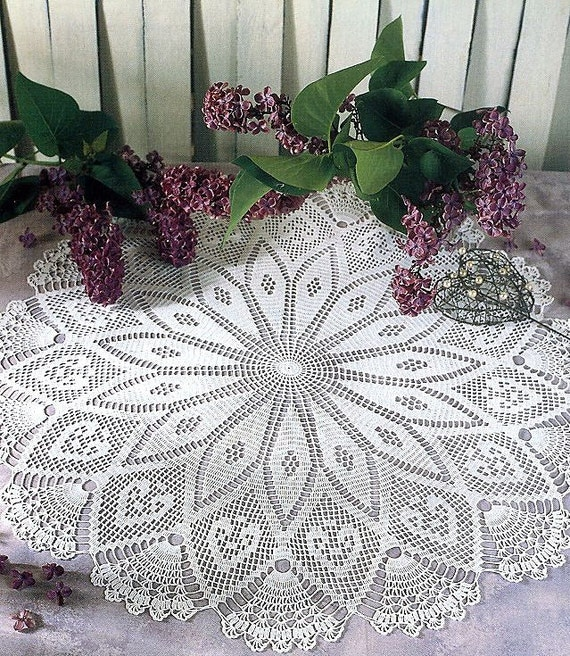Crochet Patterns Round Tablecloth : Pattern of round circle filet crochet lace cotton white floral table ...