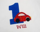 Boys Car Birthday Shirt Bib Personalized Embroidered Applique 1st 2nd 3rd Girls
