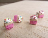 Fun Food Earrings... Cupcakes Pink & Red or Multi Colored Sprinkles
