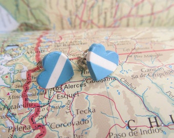 "World Flag Heart Earrings...Argentine ""I Love Argentina"""