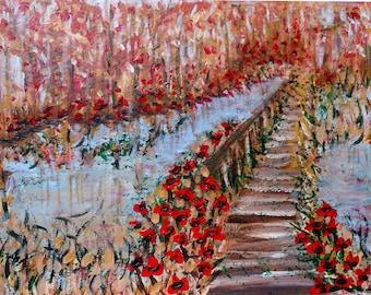 vangogh like art, impressioinism painting landscape, Poppies Painting, landscape, creek painting, lake painting