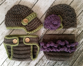 Vintage Twin Photography Prop Set in Taupe, Dusty Purple and Olive Green Available in 4 Sizes- MADE TO ORDER