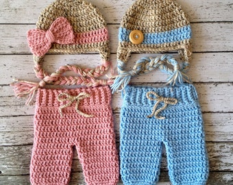 Twin Beanies in Oatmeal, Baby Blue and Dusty Pink with Matching Pants Available in Newborn to 6 Month Size- MADE TO ORDER