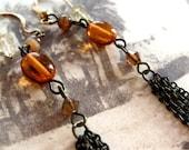 Amber Glass Tassel  Earrings