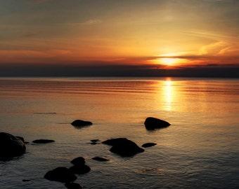 Fine art photography print, nature photography.  Latvia. Sunset. Baltic Sea.