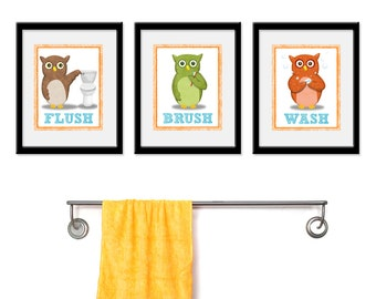 Bathroom Owls Theme Kids Art Set Of Three 5 X 7 Bathroom Decor Prints