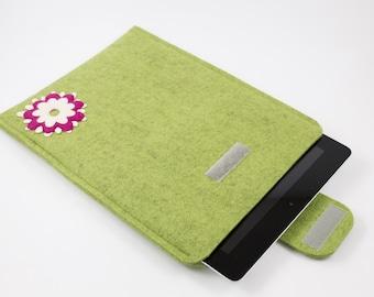 iPad, Playbook or Xoom Sleeve - 100% Merino wool - Kiwi with Layered Flower - Portrait