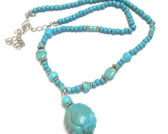 Avon Signed Faux Turquoise Beaded Necklace Molded Plastic Scarab Pendant