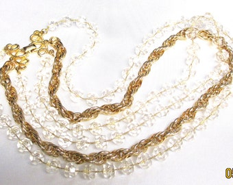 "Sarah Coventry Gorgeous ""Golden Ice"" Necklace, Multi Strand Necklace"