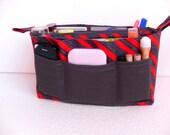 Bag organizer - Purse organizer insert in Cherry red and Grey fabric