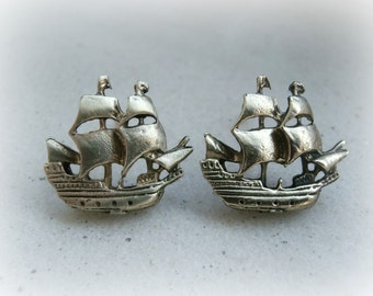 Pirate Ship Tattoo earrings - Ship post - Sailor nautical earrings - Sailboat Earrings - Ship Earrings - Boat Ship Jewelry - Ship Studs
