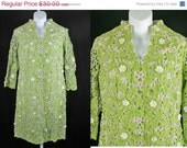 ON SALE Tesoro's Green & White Floral Overlay  Dress 60s Bust 36