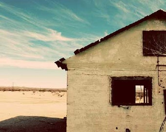 Abandoned House, Desert, blue, tan, cream, sky, clouds, empty Photograph, 8x10