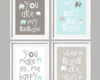 You Are My Sunshine Nursery Decor You Are My Sunshine kids wall art Baby nursery Baby boy art print Elephant nursery YassisPlace