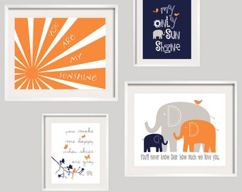 Kids Wall Art, You Are My Sunshine, Orange Navy and Gray Nursery Decor 11x14 and 8x10 - Toddler Wall Art - YassisPlace FRAMES NOT INCLUDED