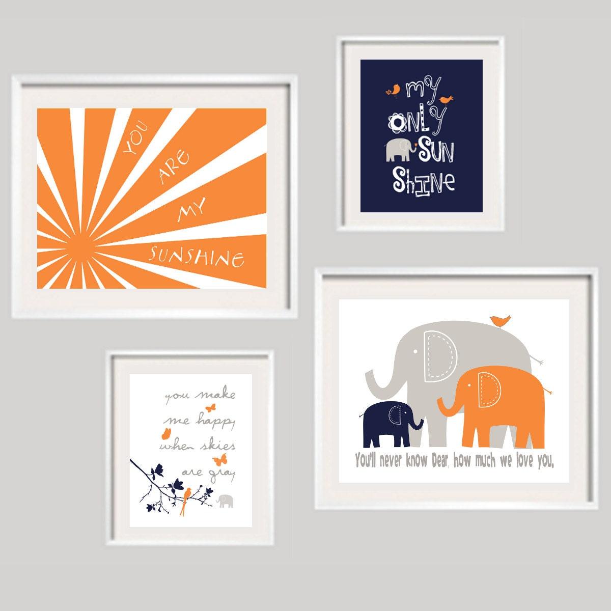 Kids wall art you are my sunshine orange navy and gray nursery for Orange wall art