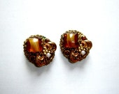 On Sale Vintage West Germany Gold Rhinestone Pearl Clip Earrings  Online Vintage, vintage clothing, home accents, vintage dress