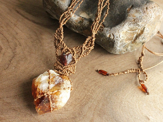 Crystal healing necklace, Citrine energy with Garnet, raw natural stone knotted in brown macrame cord