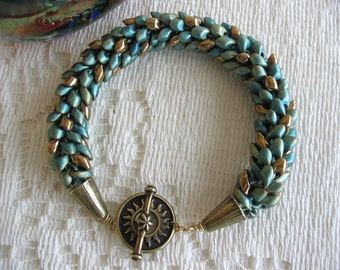 Teal and Antique Bronze Beaded Kumihimo Bracelet