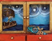 The Big Fish - Print on Wood Block -