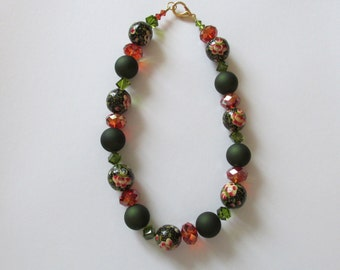 Swarovski Crystal Bead and Paper Mache Necklace
