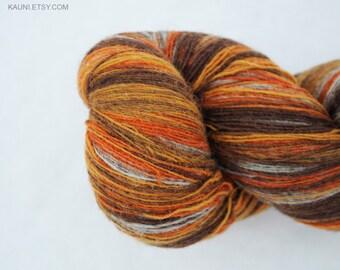 1 ply Lace Weight Kauni Wool Yarn 8/1, Mega-Yardage, Mustard Yellow and Rusty Brown and Grey