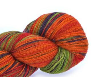KAUNI Wool Yarn, Self-Striping Festival - Gradient of Green, Purple, Orange, Red