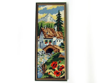 Framed Mountain Cottage by Stream Needlepoint