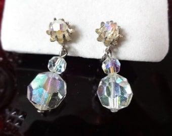 Vintage Crystal Drop Screw Back Earrings by Coro